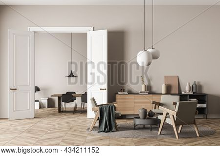 Bright Living Room Interior With Three Armchairs, Chair, Table, Carpet, Doors, Coffee Table, Sideboa