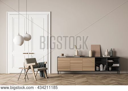 Bright Living Room Interior With Empty Wall, Armchair, Doors, Coffee Table, Sideboard And Oak Wooden