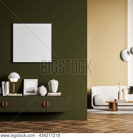 Living Room Interior With Green Wall Partition Design, Having A Sideboard And An Empty Square Frame.