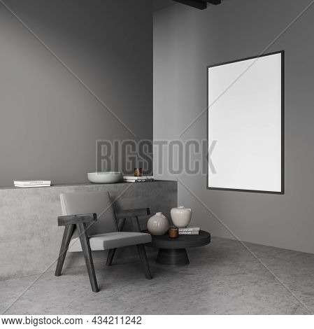Corner Of The Grey Living Room With Seating Area Design, Using A Canvas, A Basement Ledge, A Single
