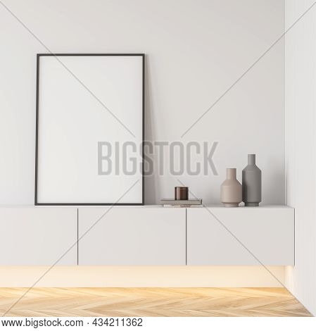 Bright Living Room Interior With White Empty Poster, Sideboard And Oak Wooden Parquet Floor. Concept