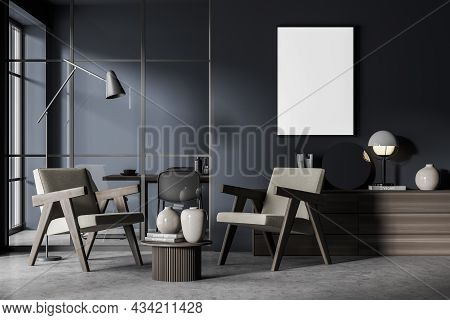 Interior With An Empty Canvas, A Living Room Sideboard Next To The Dark Blue Wall, Two Armchairs And