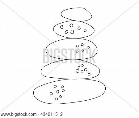 A Pyramid Of Stones Drawn With A Contour. Stones Stacked On Top Of Each Other. Vector Illustration