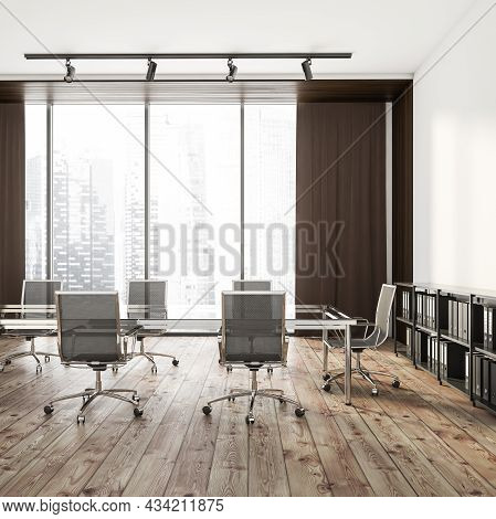Side View On Bright Office Room Interior With Empty White Wall, Panoramic Window, Large Table, Six A