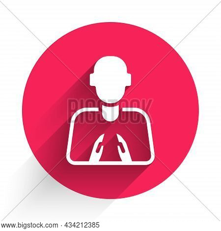 White Hands In Praying Position Icon Isolated With Long Shadow. Prayer To God With Faith And Hope. R