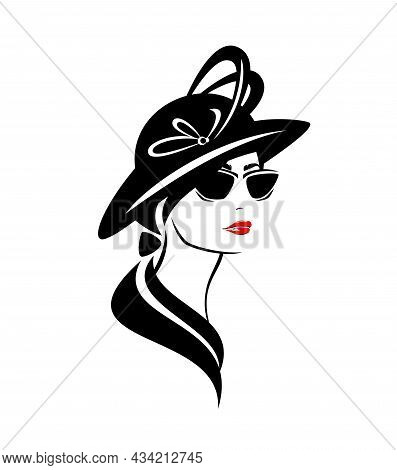 Elegant Woman Wearing Retro Style Hat With Feather Decor And Stylish Sunglasses - Glamour And Beauty
