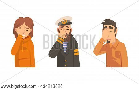 Disappointed Man And Woman Covering His Face With Hand Displaying Frustration And Embarrassment Vect