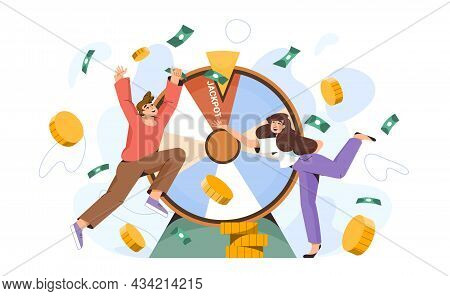 Lucky People Near The Wheel Of Fortune Win A Million. Happy Millionaires Hit The Jackpot At Casino.