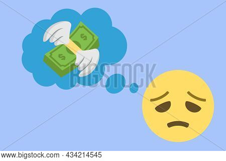Face With Cold Sweat And Thought Balloon With Winged Money Icon On Blue Background,concept Vector Il