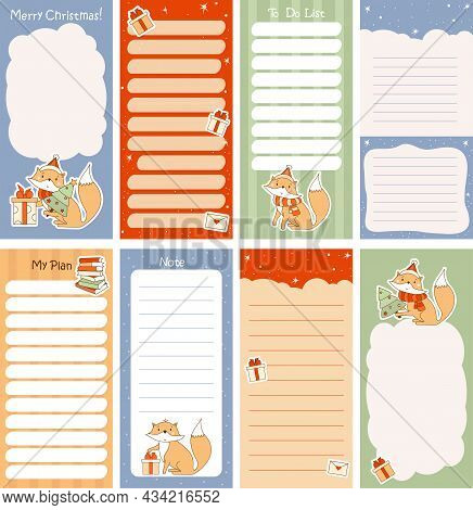 Set Of Weekly Or Daily Planner, Note Paper, To Do List, Merry Christmas Stickers Templates Decorated