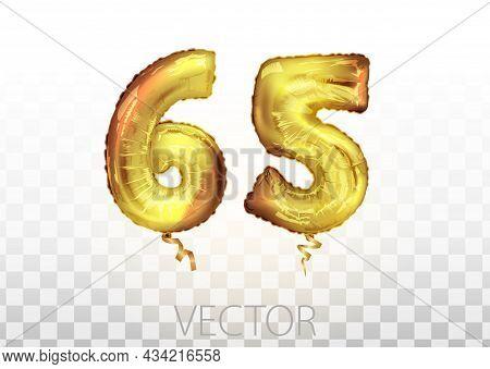 Vector Golden Foil Number 65 Sixty Five Metallic Balloon. Party Decoration Golden Balloons. Annivers