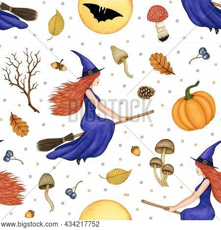 Watercolor Halloween Seamless Pattern. Redhead Beautiful Witch In A Purple Dress And Hat Flying On T