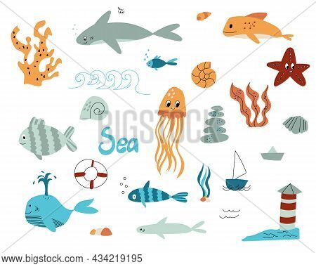 A Marine Set In The Doodle Style. Elements On The Marine Theme Are Hand-drawn Isolated On A White Ba