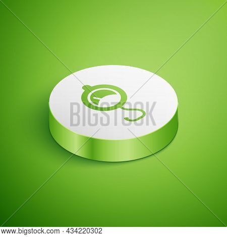 Isometric Spring Scale Icon Isolated On Green Background. Balance For Weighing. Determination Of Wei