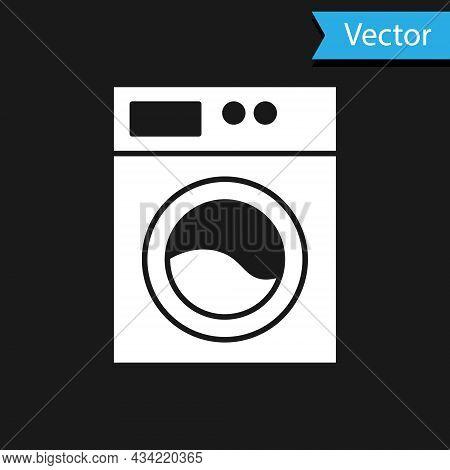 White Washer Icon Isolated On Black Background. Washing Machine Icon. Clothes Washer - Laundry Machi