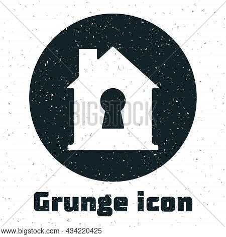 Grunge House Under Protection Icon Isolated On White Background. Home And Shield. Protection, Safety