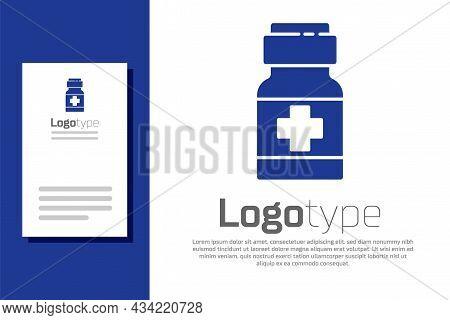 Blue Medicine Bottle And Pills Icon Isolated On White Background. Medical Drug Package For Tablet, V