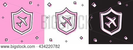 Set Plane With Shield Icon Isolated On Pink And White, Black Background. Flying Airplane. Airliner I