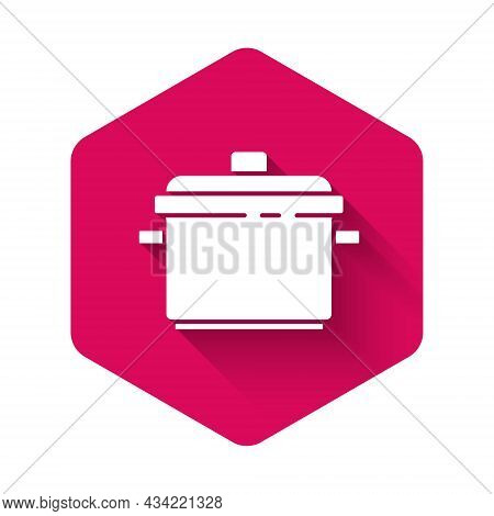 White Cooking Pot Icon Isolated With Long Shadow. Boil Or Stew Food Symbol. Pink Hexagon Button. Vec