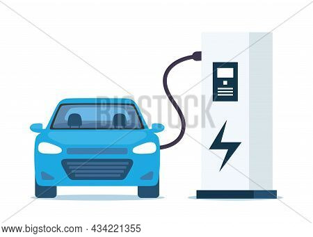 Blue Electric Car Charging, Front View. Electric Car Charging Station Isolated On White Background.