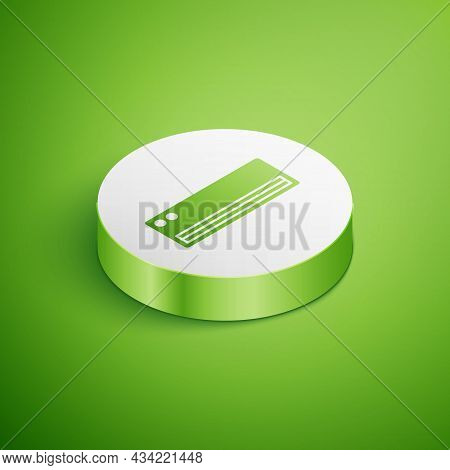 Isometric Air Conditioner Icon Isolated On Green Background. Split System Air Conditioning. Cool And