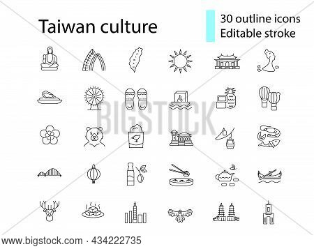 Oriental Culture Of Taiwan Outline Icons Set. Taiwanese Attractions. Asian National Tradition. Custo