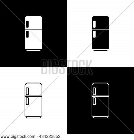 Set Refrigerator Icon Isolated On Black And White Background. Fridge Freezer Refrigerator. Household