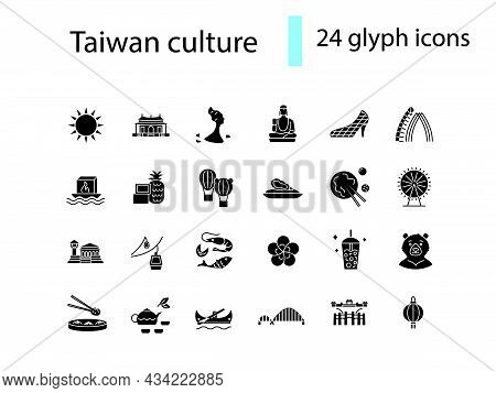 Taiwanese Culture Glyph Icons Set. Taiwan Specialty. Features Of Asian National Culture. Black Fille