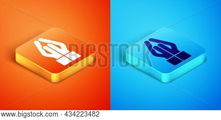 Isometric Hands In Praying Position Icon Isolated On Orange And Blue Background. Prayer To God With