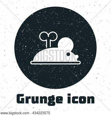 Grunge Clockwork Mouse Icon Isolated On White Background. Wind Up Mouse Toy. Monochrome Vintage Draw