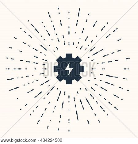 Grey Gear And Lightning Icon Isolated On Beige Background. Electric Power. Lightning Bolt Sign. Abst