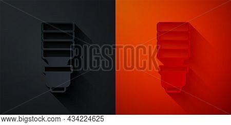 Paper Cut Led Light Bulb Icon Isolated On Black And Red Background. Economical Led Illuminated Light