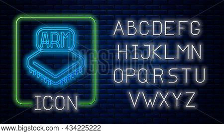 Glowing Neon Processor Icon Isolated On Brick Wall Background. Cpu, Central Processing Unit, Microch