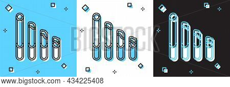 Set Smoking Cigarette Icon Isolated On Blue And White, Black Background. Tobacco Sign. Vector