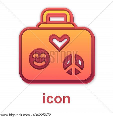 Gold Suitcase For Travel Icon Isolated On White Background. Traveling Baggage Sign. Retro Hippie Sty