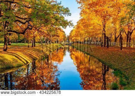 Obvodny Canal In Autumn In Alexander Park, Tsarskoe Selo (pushkin), Saint Petersburg, Russia