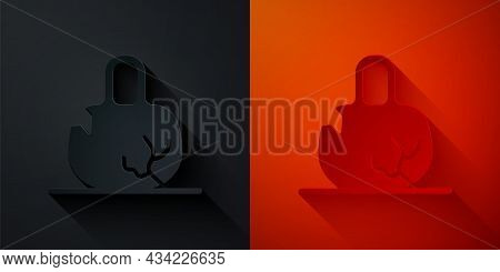 Paper Cut Broken Weight Icon Isolated On Black And Red Background. Kilogram Weight Block For Weight