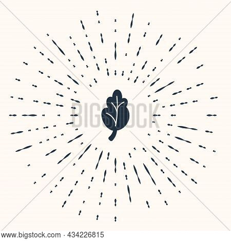 Grey Korean Food Kimchi, Cabbage Icon Isolated On Beige Background. Abstract Circle Random Dots. Vec
