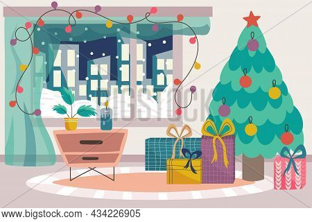 Scandinavian Christmas Interior With Christmas Tree, Bedside Table And Gifts.cozy Scandinavian Winte