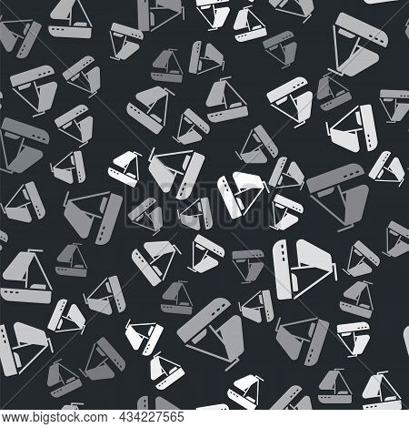 Grey Yacht Sailboat Or Sailing Ship Icon Isolated Seamless Pattern On Black Background. Sail Boat Ma
