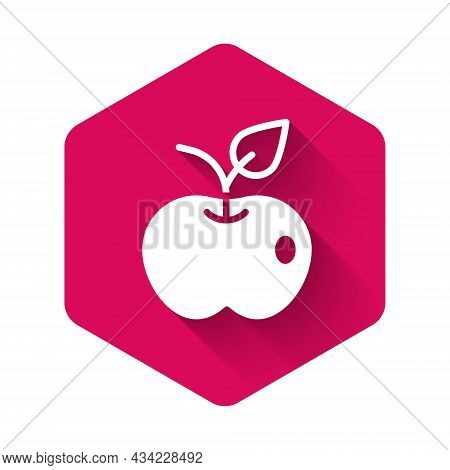 White Apple Icon Isolated With Long Shadow Background. Excess Weight. Healthy Diet Menu. Fitness Die