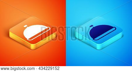 Isometric Covered With A Tray Of Food Icon Isolated On Orange And Blue Background. Tray And Lid Sign