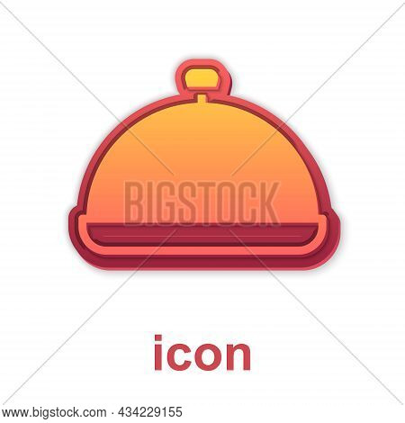 Gold Covered With A Tray Of Food Icon Isolated On White Background. Tray And Lid Sign. Restaurant Cl