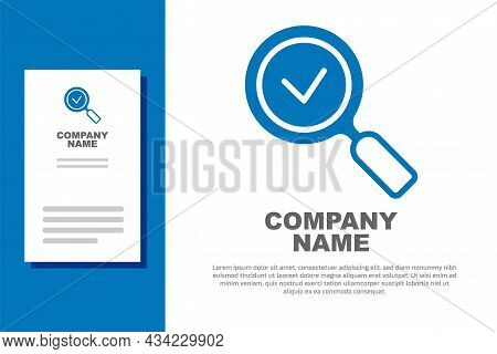 Blue Magnifying Glass With Check Mark Icon Isolated On White Background. Search, Focus, Zoom, Busine