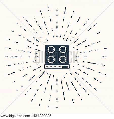 Grey Gas Stove Icon Isolated On Beige Background. Cooktop Sign. Hob With Four Circle Burners. Abstra