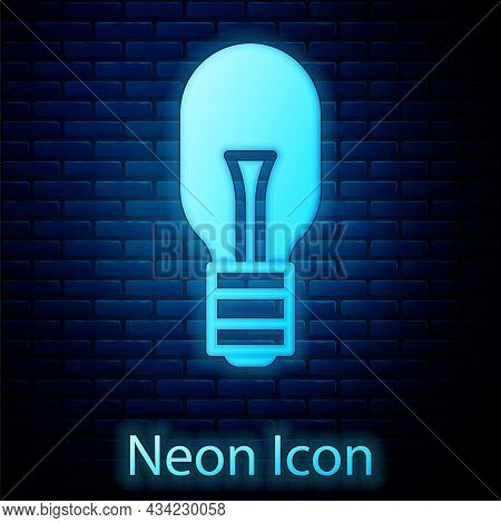 Glowing Neon Light Bulb With Concept Of Idea Icon Isolated On Brick Wall Background. Energy And Idea