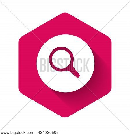 White Magnifying Glass Icon Isolated With Long Shadow Background. Search, Focus, Zoom, Business Symb