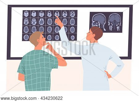 Doctor And Patient Looking At An Mri Scan Of The Brain