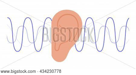 Human Ear Anatomy And Auditory Icon. Hearing Test. Acoustic, Ringing, Audiology Concept. Noise Symbo