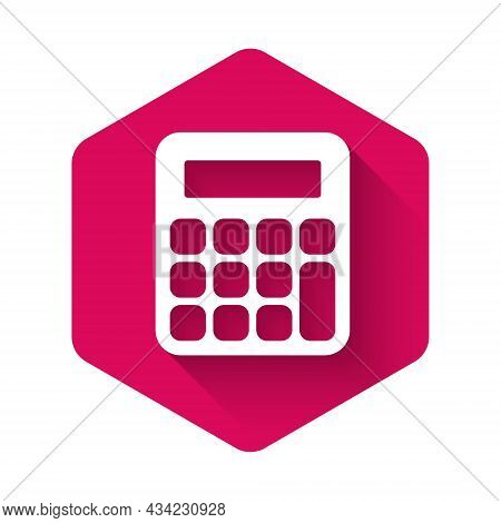 White Calculator Icon Isolated With Long Shadow Background. Accounting Symbol. Business Calculations